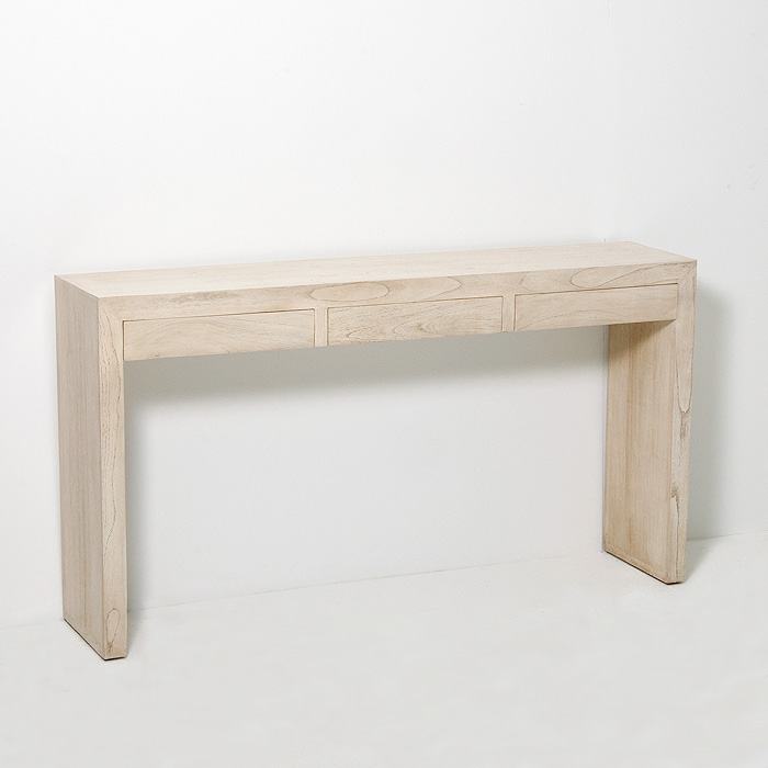 Distressed White Wooden Console Table