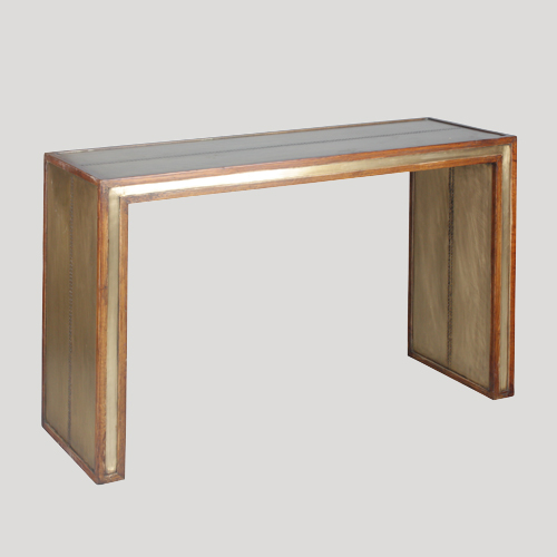 Pine and Bronze Console Table